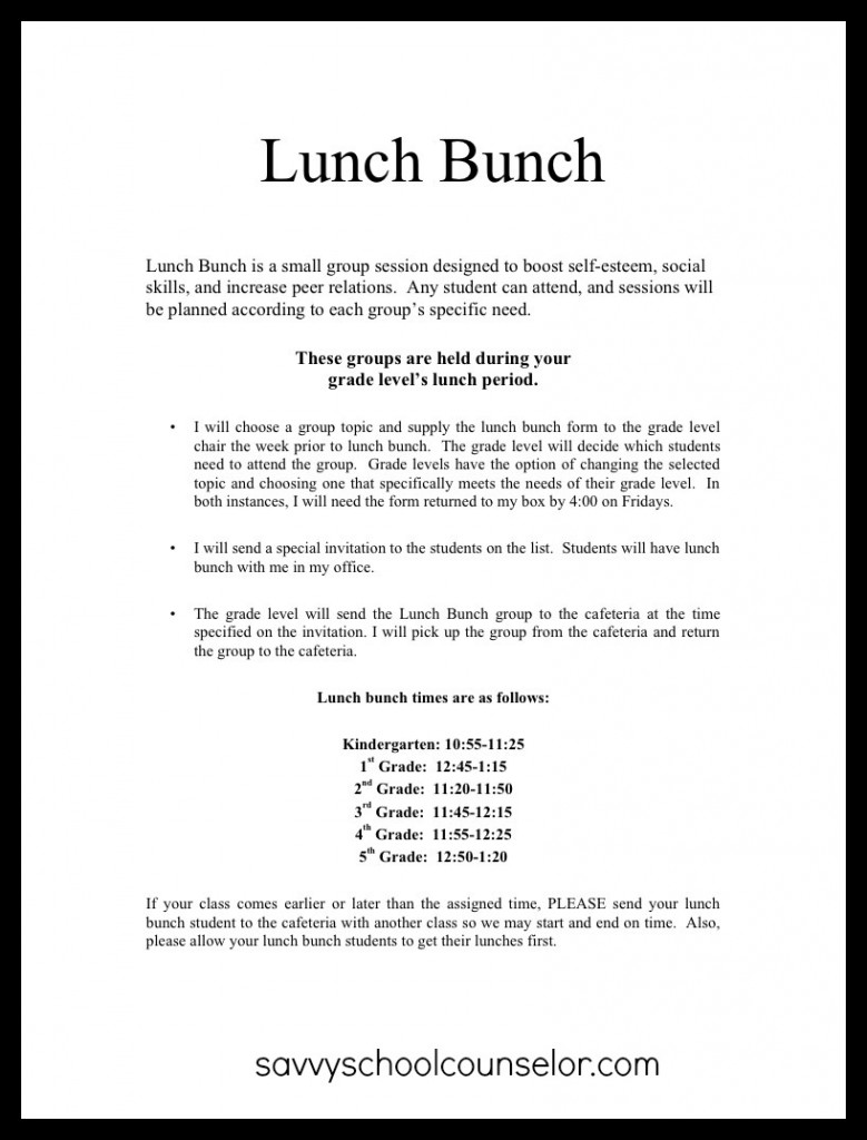 Sample Letter 5th Grade. This  Lunch Bunch Anyone Planning and Scheduling Savvy School Counselor