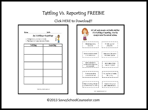 FREE Tattling Vs. Reporting Download (Type-O Corrected!)