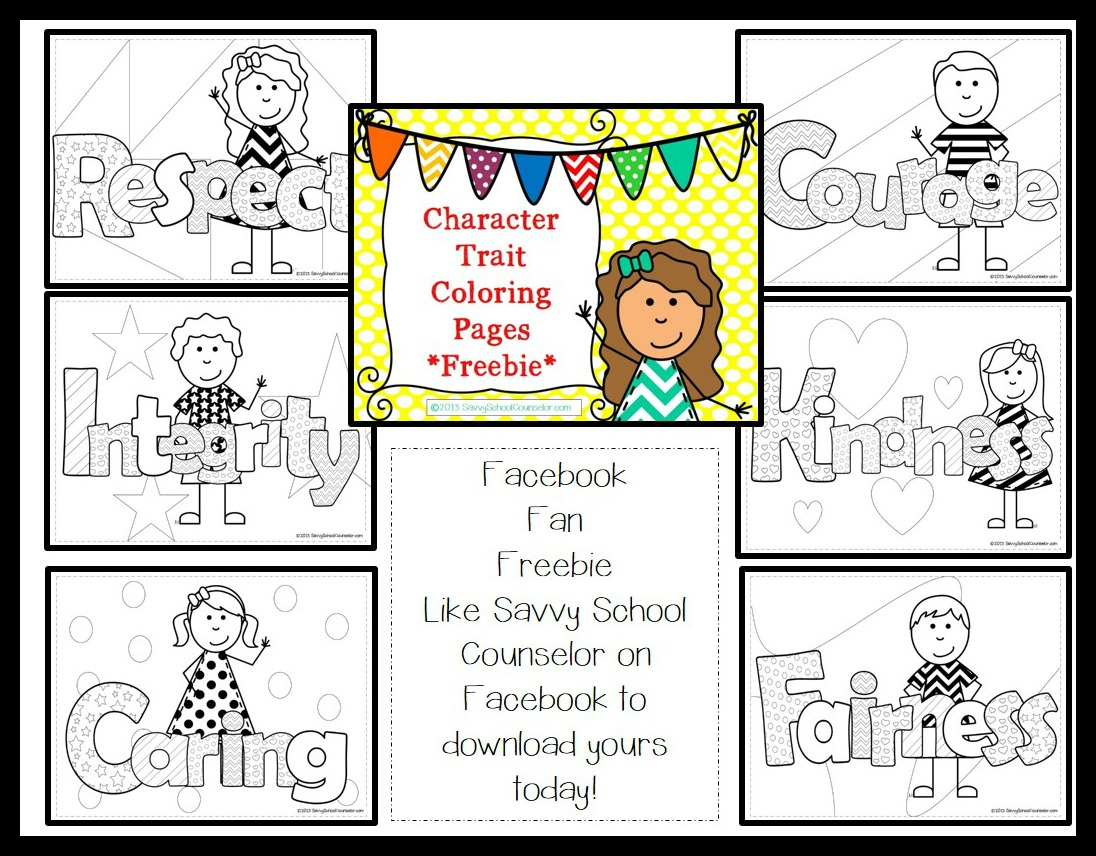 Free Worksheets 6 pillars of character worksheets : Facebook Fan Freebie- Character Trait Coloring Pages ...