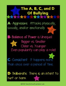 Free Bullying Poster- SavvySchoolCounselor.com